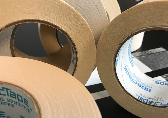 Double coated crepe paper, multipurpose mounting, holding, splicing, etc.
